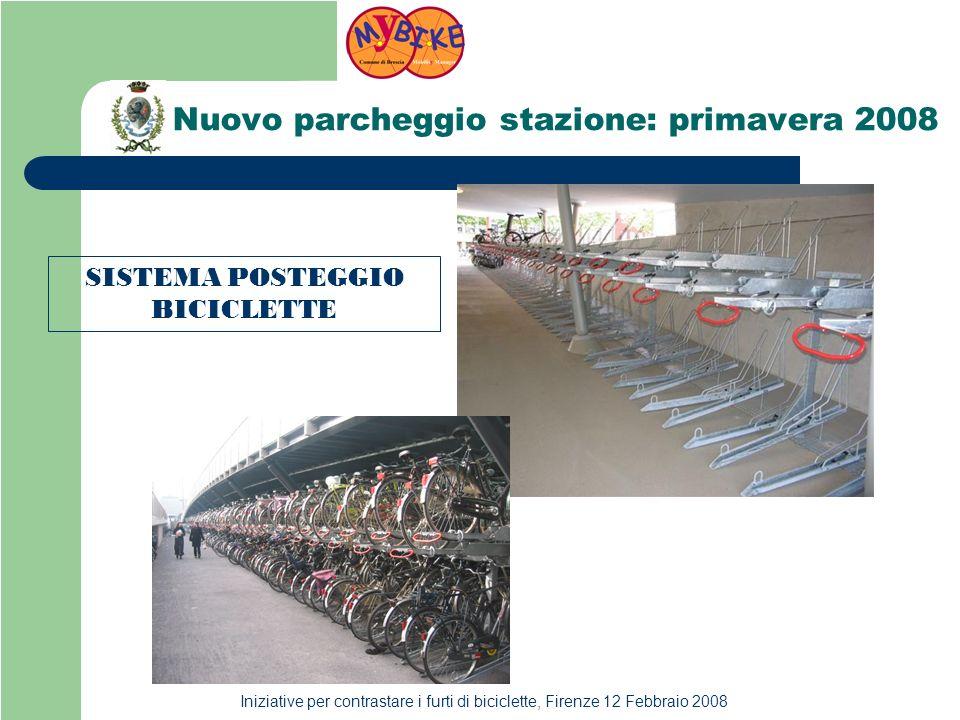 Iniziative per contrastare i furti di biciclette, Firenze 12 Febbraio 2008 Nuovo parcheggio stazione: primavera 2008 SISTEMA POSTEGGIO BICICLETTE