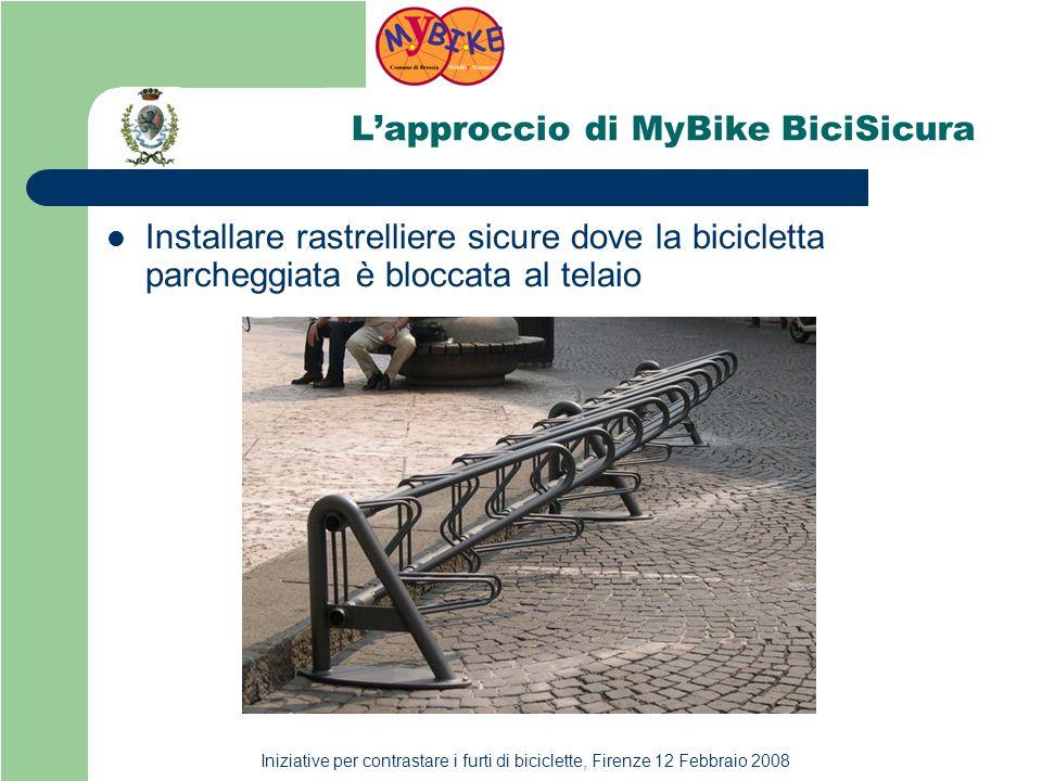 Iniziative per contrastare i furti di biciclette, Firenze 12 Febbraio 2008 Lapproccio di MyBike BiciSicura Installare rastrelliere sicure dove la bicicletta parcheggiata è bloccata al telaio