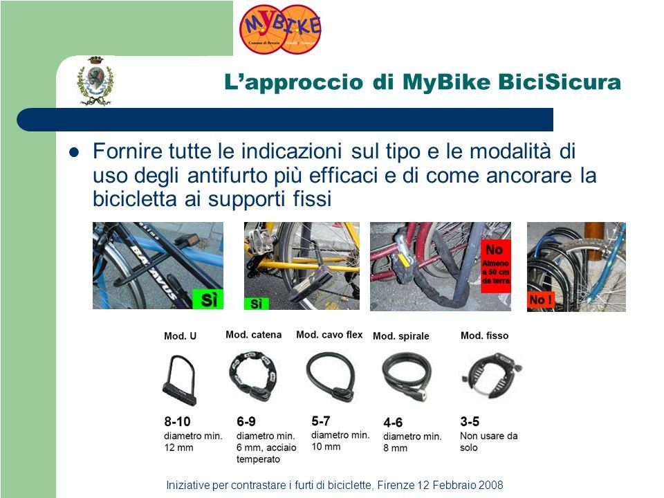 Iniziative per contrastare i furti di biciclette, Firenze 12 Febbraio 2008 Lapproccio di MyBike BiciSicura Fornire tutte le indicazioni sul tipo e le modalità di uso degli antifurto più efficaci e di come ancorare la bicicletta ai supporti fissi