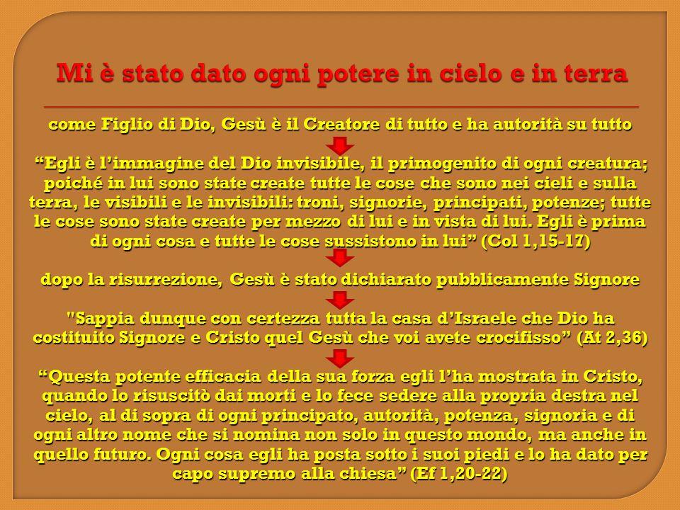 come Figlio di Dio, Gesù è il Creatore di tutto e ha autorità su tutto Egli è limmagine del Dio invisibile, il primogenito di ogni creatura; poiché in