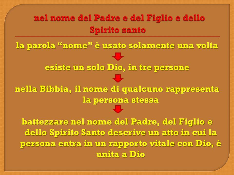 la parola nome è usato solamente una volta esiste un solo Dio, in tre persone nella Bibbia, il nome di qualcuno rappresenta la persona stessa battezza