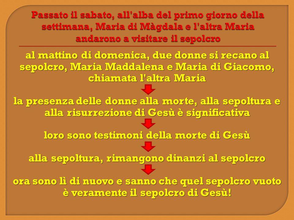 al mattino di domenica, due donne si recano al sepolcro, Maria Maddalena e Maria di Giacomo, chiamata l'altra Maria la presenza delle donne alla morte