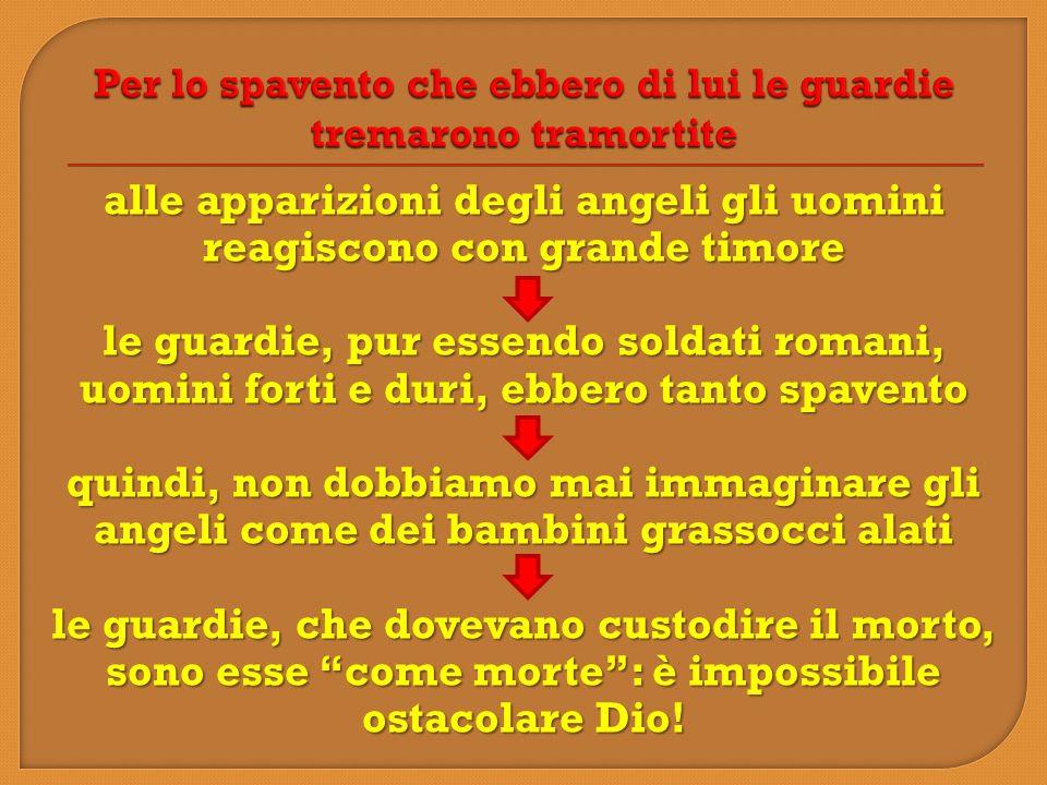 alle apparizioni degli angeli gli uomini reagiscono con grande timore le guardie, pur essendo soldati romani, uomini forti e duri, ebbero tanto spaven
