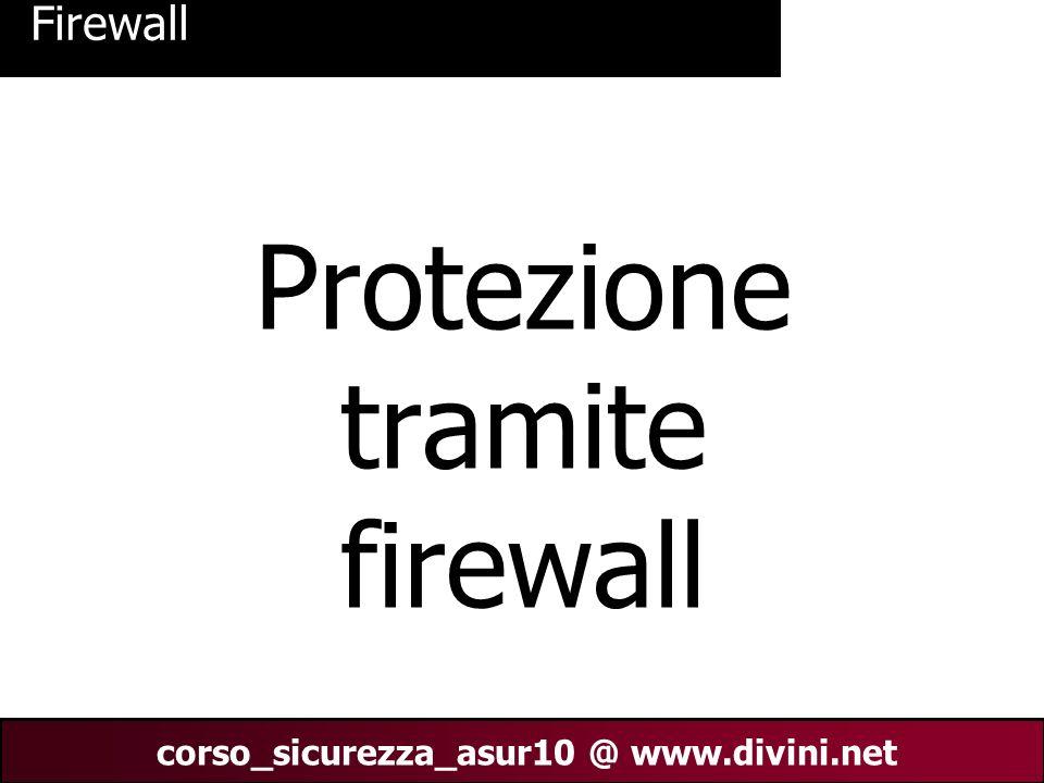 00 AN 1 corso_sicurezza_asur10 @ www.divini.net Firewall Protezione tramite firewall
