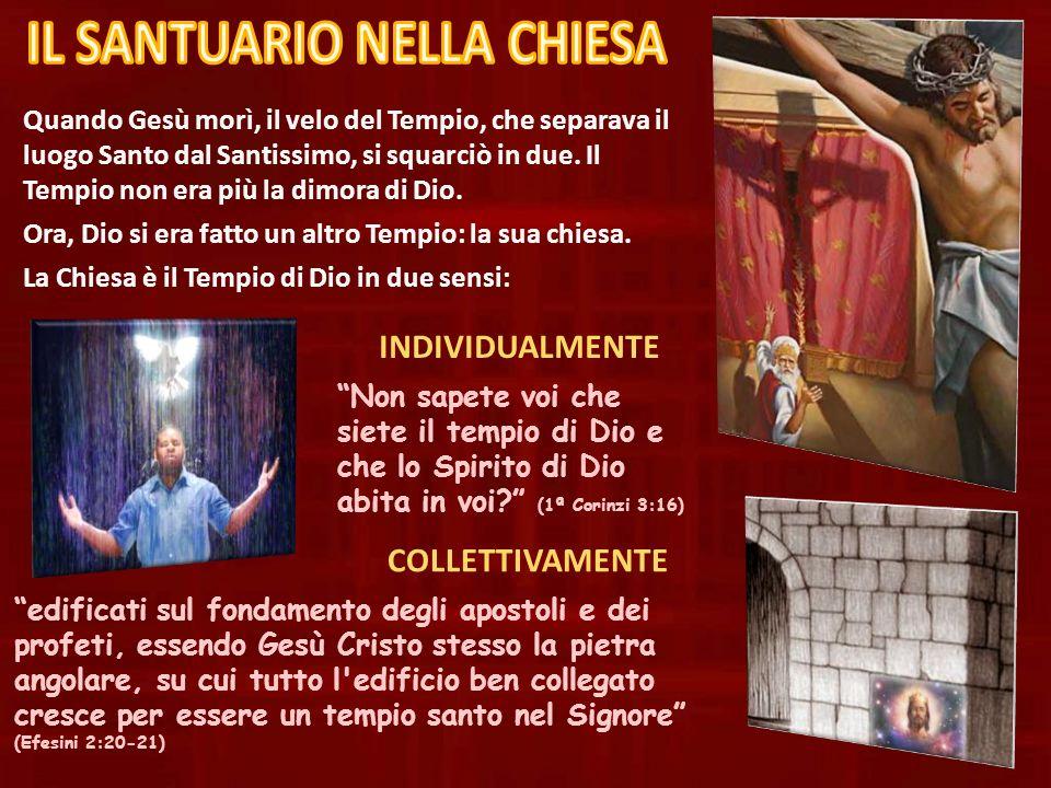 Quando Gesù morì, il velo del Tempio, che separava il luogo Santo dal Santissimo, si squarciò in due. Il Tempio non era più la dimora di Dio. Ora, Dio