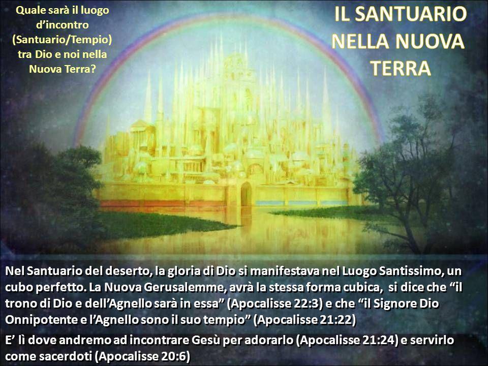 Quale sarà il luogo dincontro (Santuario/Tempio) tra Dio e noi nella Nuova Terra? Nel Santuario del deserto, la gloria di Dio si manifestava nel Luogo