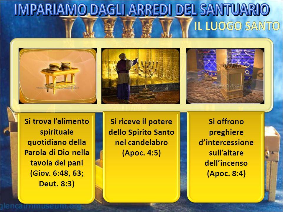 Si trova lalimento spirituale quotidiano della Parola di Dio nella tavola dei pani (Giov. 6:48, 63; Deut. 8:3) Si riceve il potere dello Spirito Santo