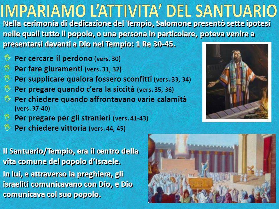 Nella cerimonia di dedicazione del Tempio, Salomone presentò sette ipotesi nelle quali tutto il popolo, o una persona in particolare, poteva venire a