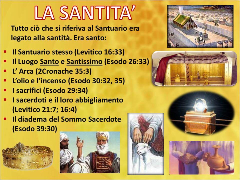 Parla a tutta lAssemblea dei figli dIsraele e dì loro: Siate santi, perchè io lEterno il vostro Dio, sono santo.