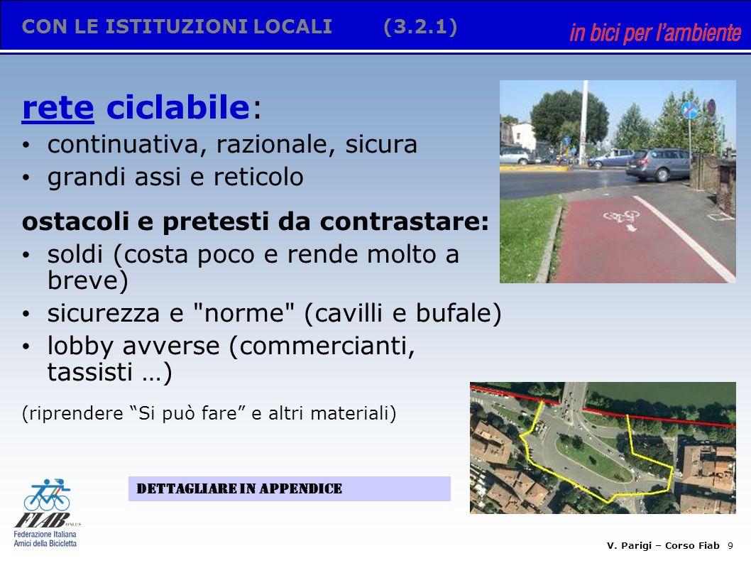 V. Parigi – Corso Fiab 8 CON LE ISTITUZIONI LOCALI(3.2) Legge 366/98 Art 10 c4: il 20% delle multe per la sicurezza e lo sviluppo della mobilità cicli