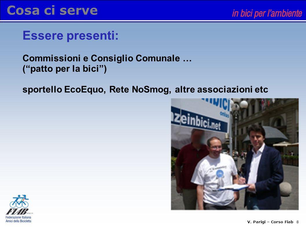 V. Parigi – Corso Fiab 7 Cosa ci serve Soldi e marketing - ricerca sponsor - finanziamenti pubblici e privati - monitorare bandi Regione e altri enti