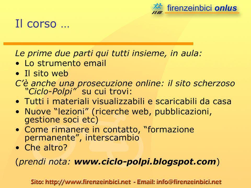 Il corso … Le prime due parti qui tutti insieme, in aula: Lo strumento email Il sito web Cè anche una prosecuzione online: il sito scherzoso Ciclo-Pol