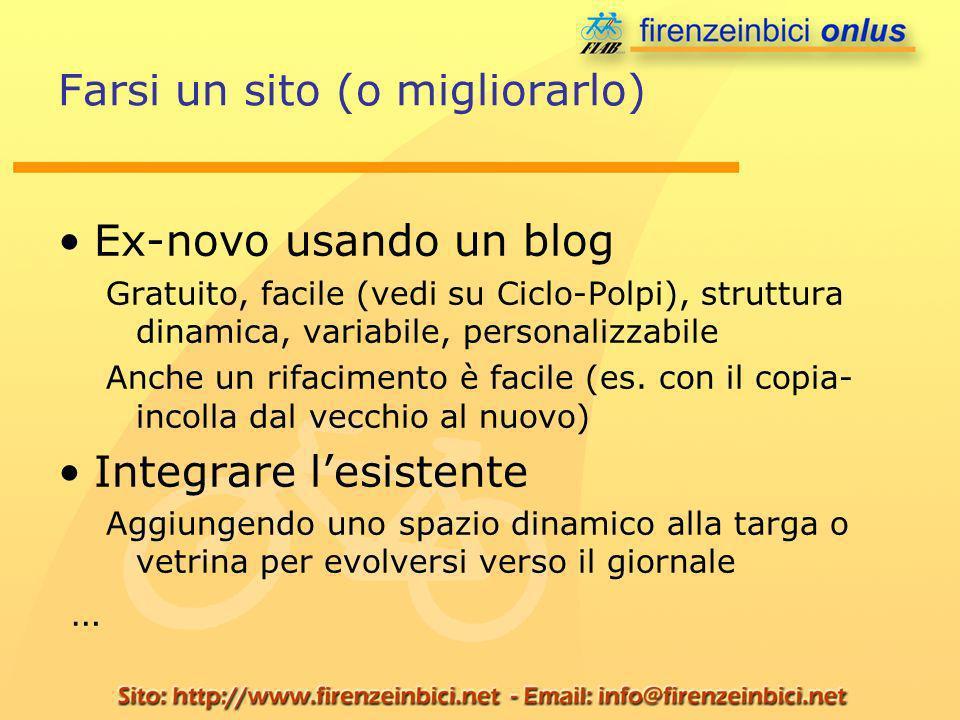 Farsi un sito (o migliorarlo) Ex-novo usando un blog Gratuito, facile (vedi su Ciclo-Polpi), struttura dinamica, variabile, personalizzabile Anche un rifacimento è facile (es.