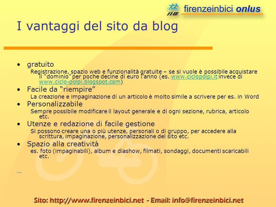 I vantaggi del sito da blog gratuito Registrazione, spazio web e funzionalità gratuite – se si vuole è possibile acquistare il dominio per poche decine di euro lanno (es.