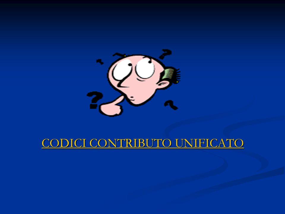 CODICI CONTRIBUTO UNIFICATO CODICI CONTRIBUTO UNIFICATO