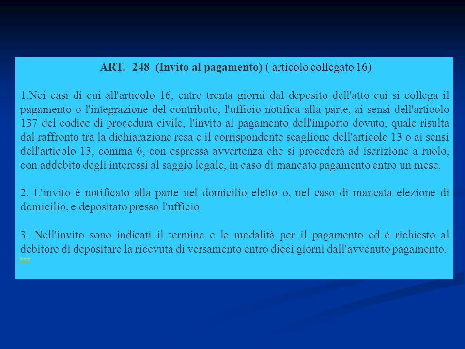 ART. 248 (Invito al pagamento) ( articolo collegato 16) 1.Nei casi di cui all'articolo 16, entro trenta giorni dal deposito dell'atto cui si collega i
