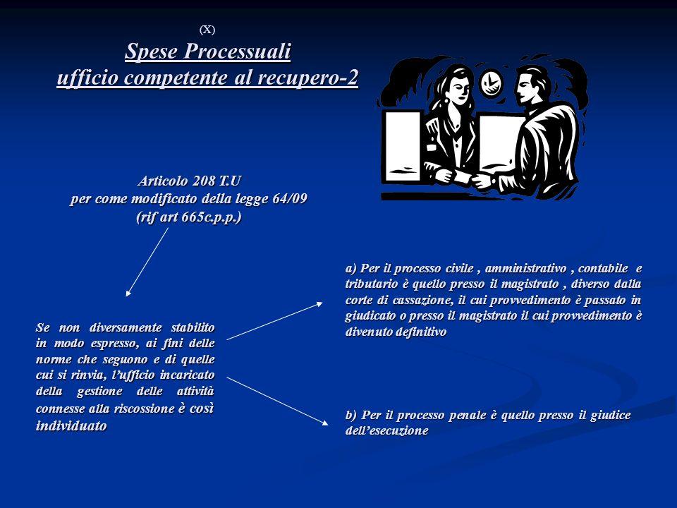 Spese Processuali ufficio competente al recupero-2 (X) Spese Processuali ufficio competente al recupero-2 Articolo 208 T.U per come modificato della l