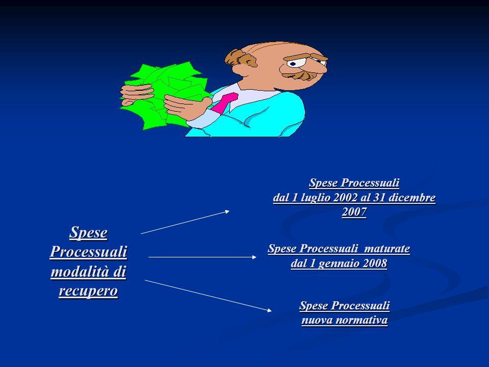 Spese Processuali modalità di recupero Spese Processuali dal 1 luglio 2002 al 31 dicembre 2007 Spese Processuali maturate dal 1 gennaio 2008 Spese Pro