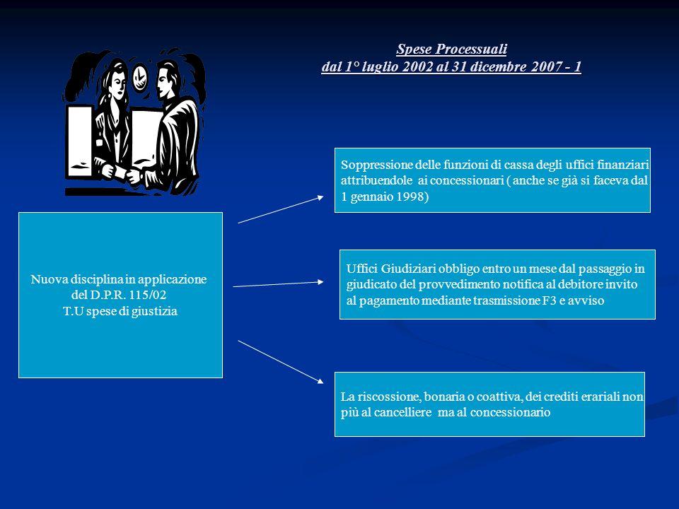 Nuova disciplina in applicazione del D.P.R. 115/02 T.U spese di giustizia Spese Processuali dal 1° luglio 2002 al 31 dicembre 2007 - 1 Soppressione de