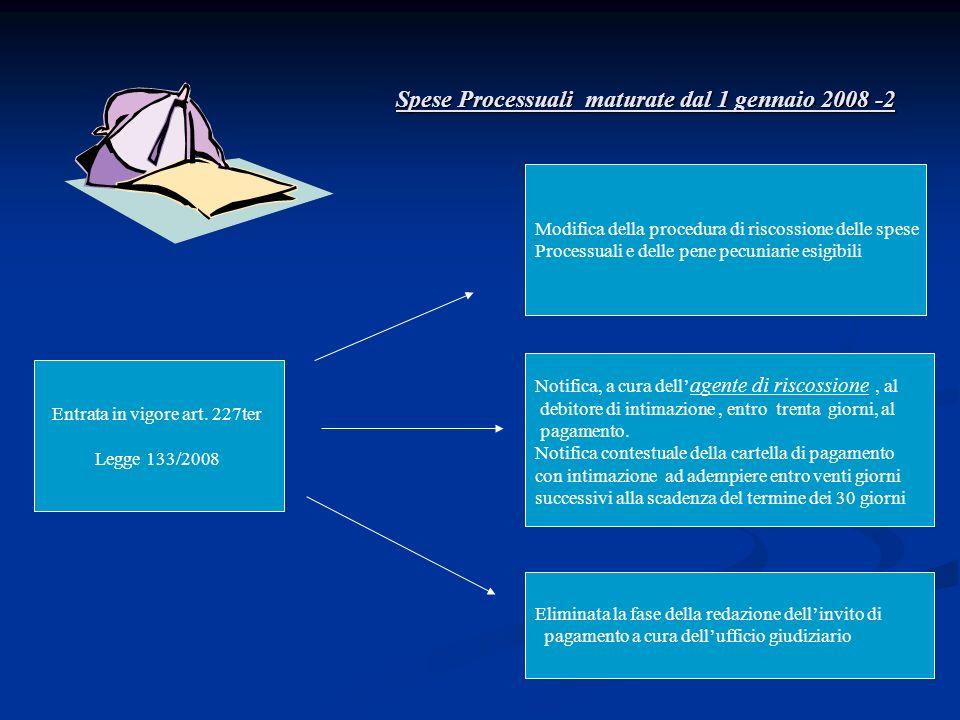 Spese Processuali maturate dal 1 gennaio 2008 -2 Entrata in vigore art. 227ter Legge 133/2008 Notifica, a cura dell agente di riscossione, al debitore