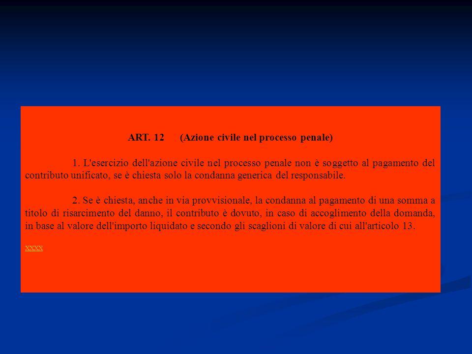 azione civile nel processo penale Contributo unificato ( artt.