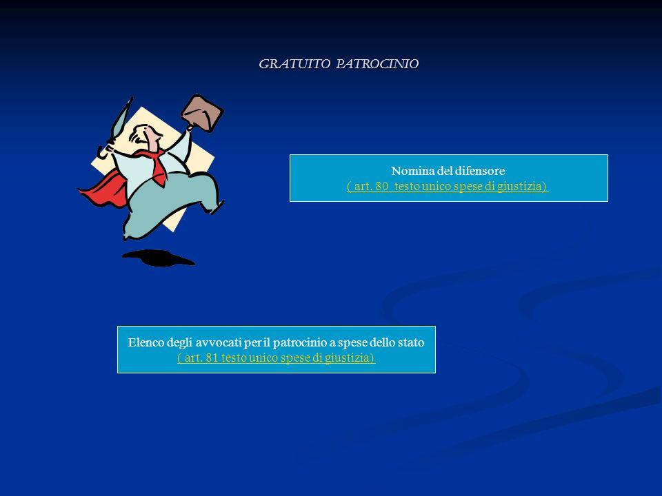 Nomina del difensore ( art. 80 testo unico spese di giustizia) GRATUITO PATROCINIO Elenco degli avvocati per il patrocinio a spese dello stato ( art.