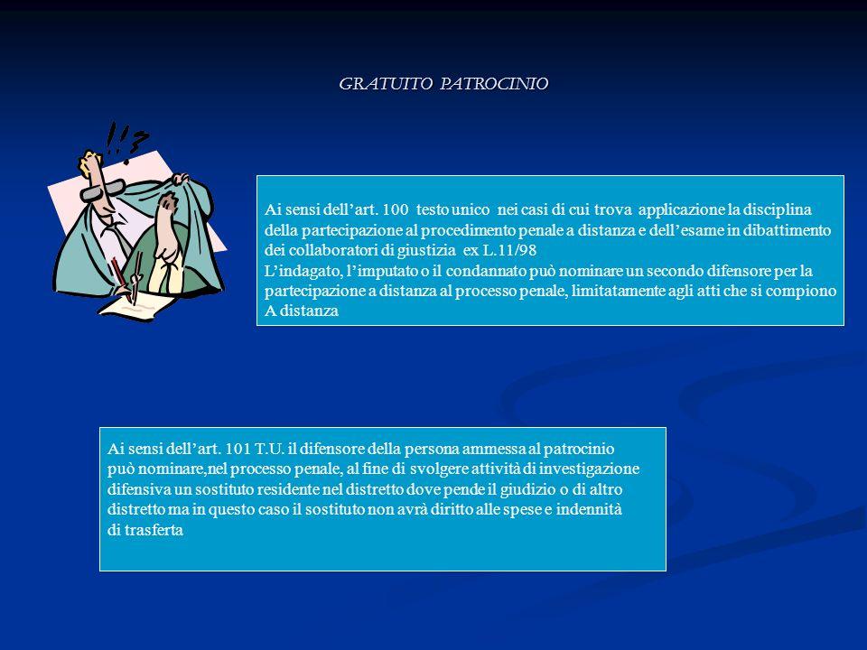 Ai sensi dellart. 100 testo unico nei casi di cui trova applicazione la disciplina della partecipazione al procedimento penale a distanza e dellesame