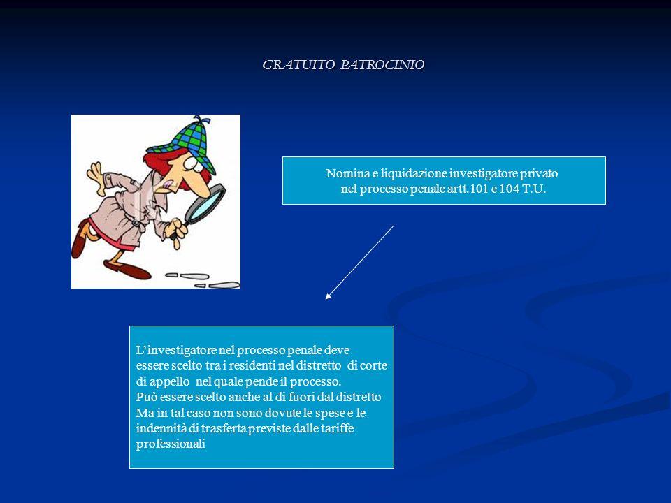 GRATUITO PATROCINIO Nomina e liquidazione investigatore privato nel processo penale artt.101 e 104 T.U. Linvestigatore nel processo penale deve essere