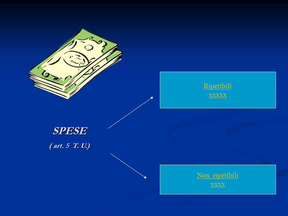 SPESE ( art. 5 T. U.) Ripetibili xxxxx Non ripetibili xxxx