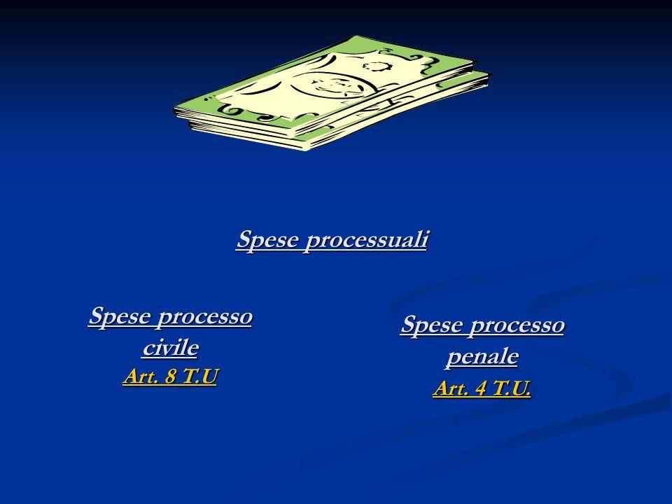 Spese processuali Spese processo civile Art. 8 T.U Art. 8 T.U Art. 8 T.U Spese processo penale Art. 4 T.U. Art. 4 T.U. Art. 4 T.U.