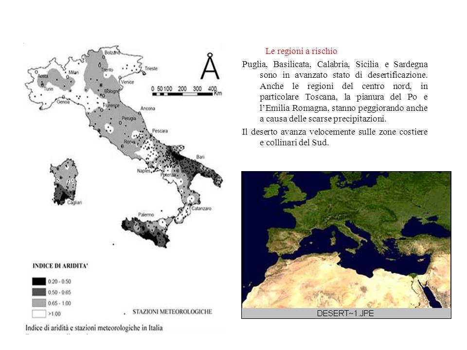 La Desertificazione e l Italia Il 30% del territorio italiano è a rischio desertificazione, soprattutto il meridione. Negli ultimi 20 anni è triplicat