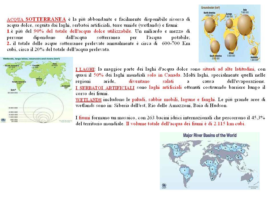 Risorse dAcqua dolce: quantità e distribuzione nelle regioni. Bacini fluviali nel Mondo.