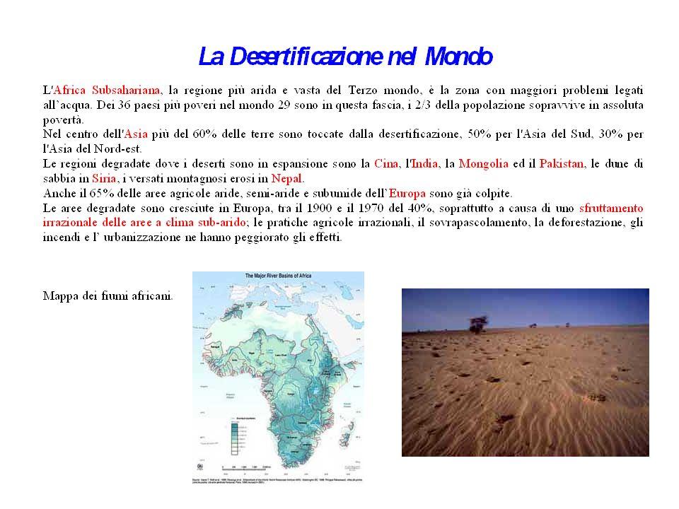 Alcuni numeri sulla desertificazione Alcuni numeri danno un'idea della sua entità: - 1/4 delle terre emerse è a rischio desertificazione; - 3/4 delle