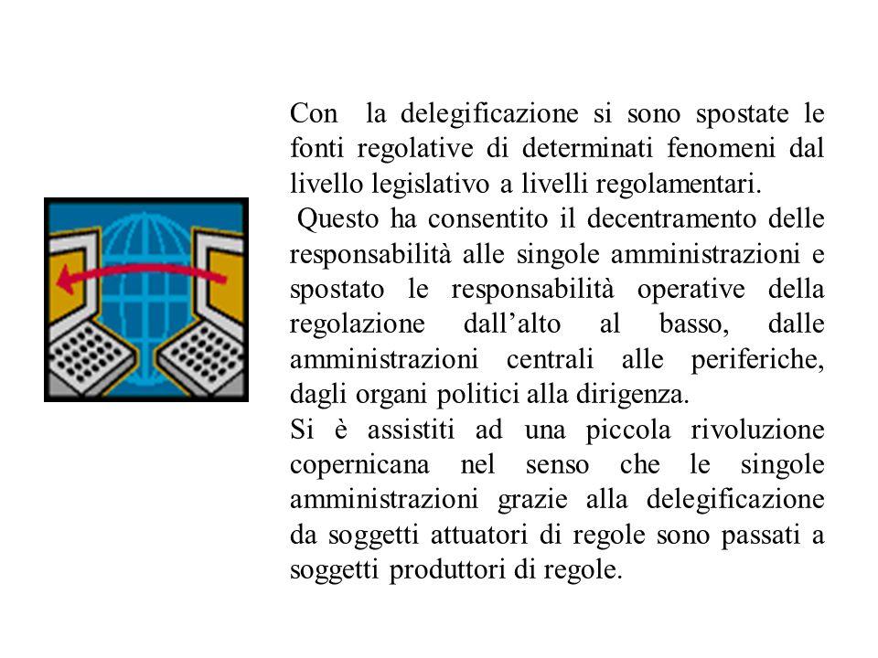 Con la delegificazione si sono spostate le fonti regolative di determinati fenomeni dal livello legislativo a livelli regolamentari.