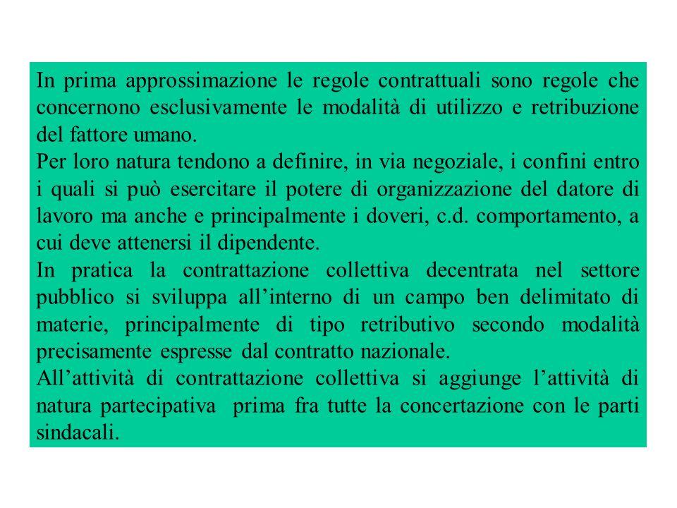In prima approssimazione le regole contrattuali sono regole che concernono esclusivamente le modalità di utilizzo e retribuzione del fattore umano.