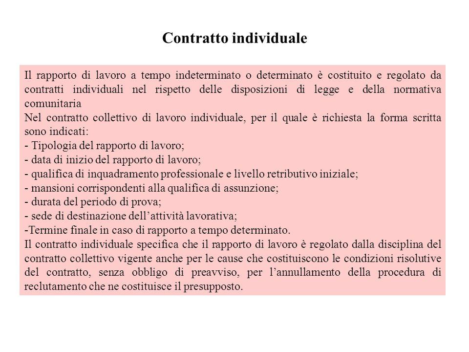 Contratto individuale Il rapporto di lavoro a tempo indeterminato o determinato è costituito e regolato da contratti individuali nel rispetto delle di