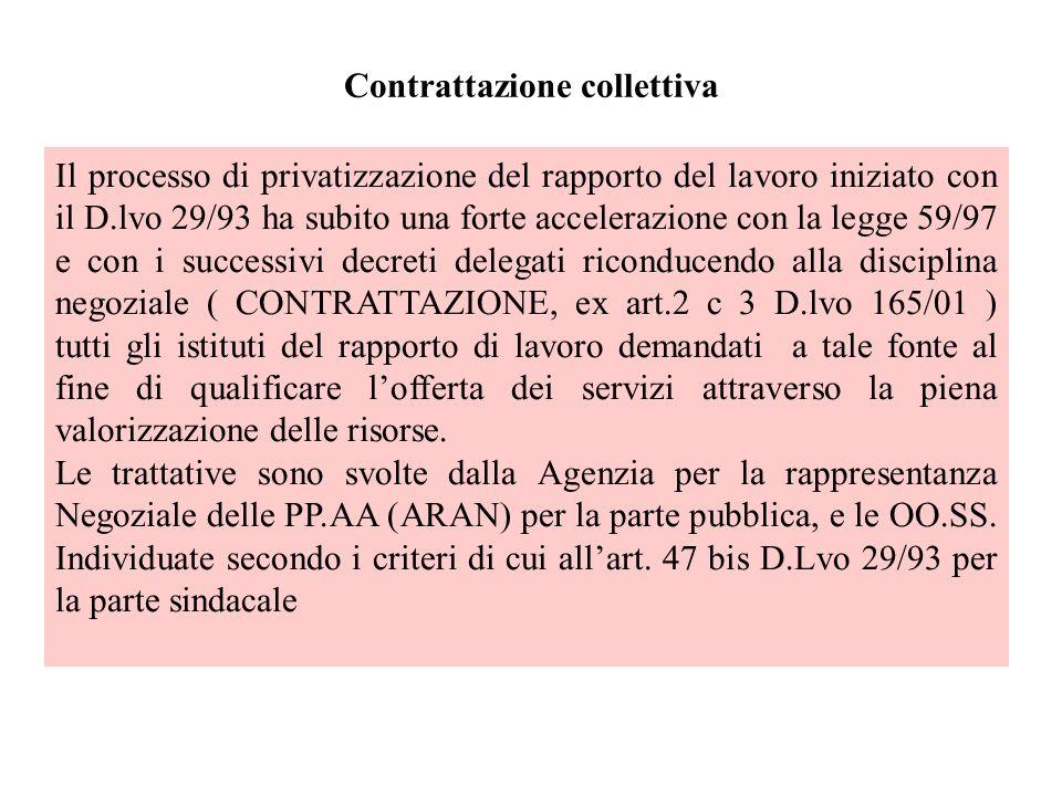 Contrattazione collettiva Il processo di privatizzazione del rapporto del lavoro iniziato con il D.lvo 29/93 ha subito una forte accelerazione con la