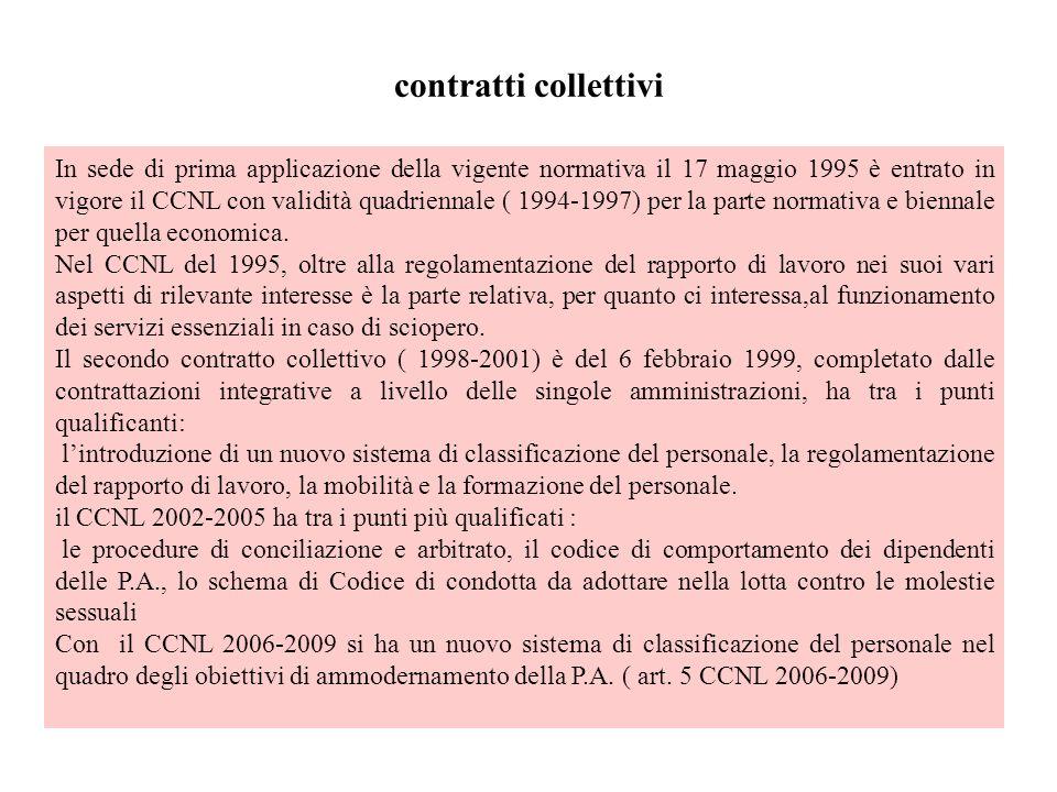 contratti collettivi In sede di prima applicazione della vigente normativa il 17 maggio 1995 è entrato in vigore il CCNL con validità quadriennale ( 1994-1997) per la parte normativa e biennale per quella economica.
