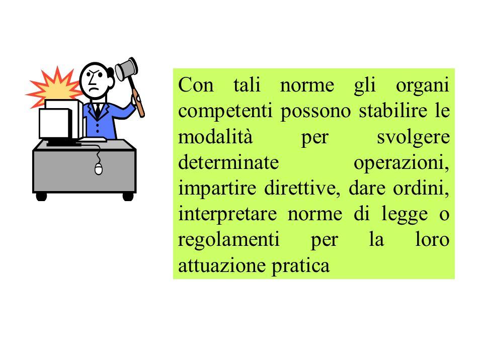 Con tali norme gli organi competenti possono stabilire le modalità per svolgere determinate operazioni, impartire direttive, dare ordini, interpretare
