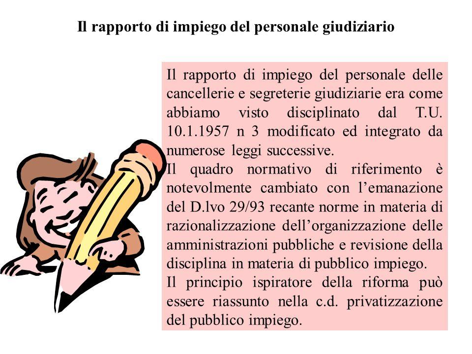 Il rapporto di impiego del personale giudiziario Il rapporto di impiego del personale delle cancellerie e segreterie giudiziarie era come abbiamo visto disciplinato dal T.U.