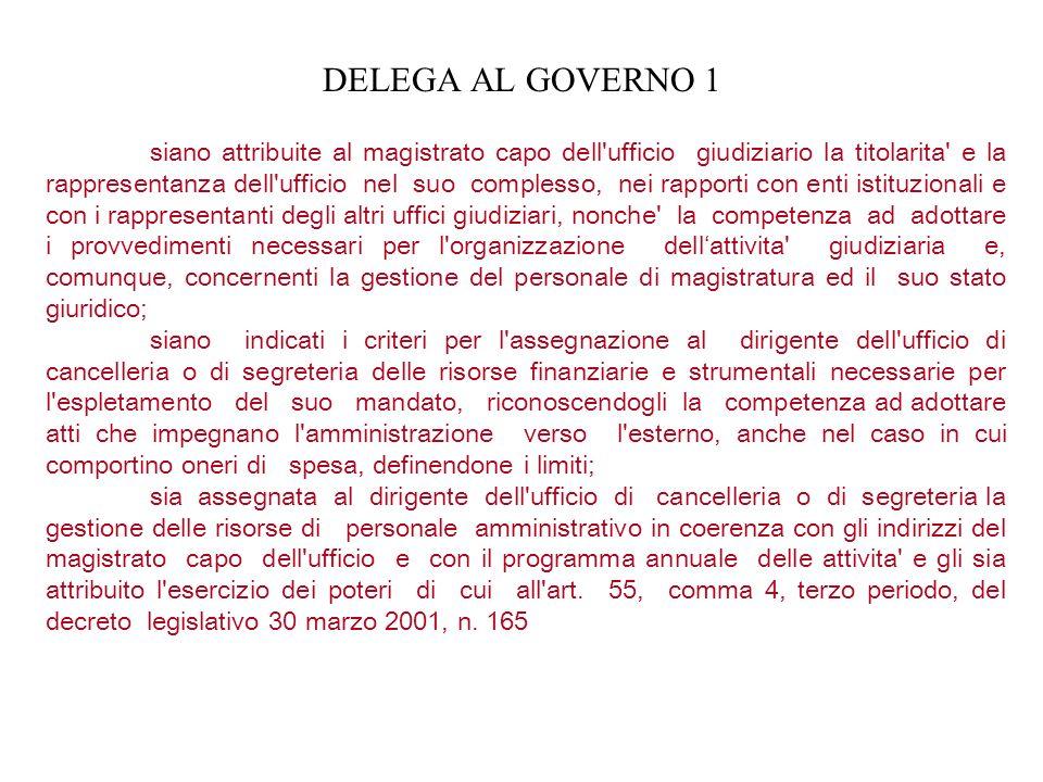 DELEGA AL GOVERNO 1 siano attribuite al magistrato capo dell'ufficio giudiziario la titolarita' e la rappresentanza dell'ufficio nel suo complesso, ne