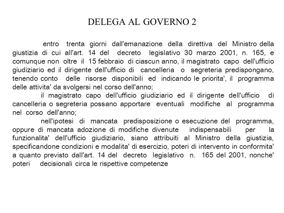 DELEGA AL GOVERNO 2 entro trenta giorni dall'emanazione della direttiva del Ministro della giustizia di cui all'art. 14 del decreto legislativo 30 mar