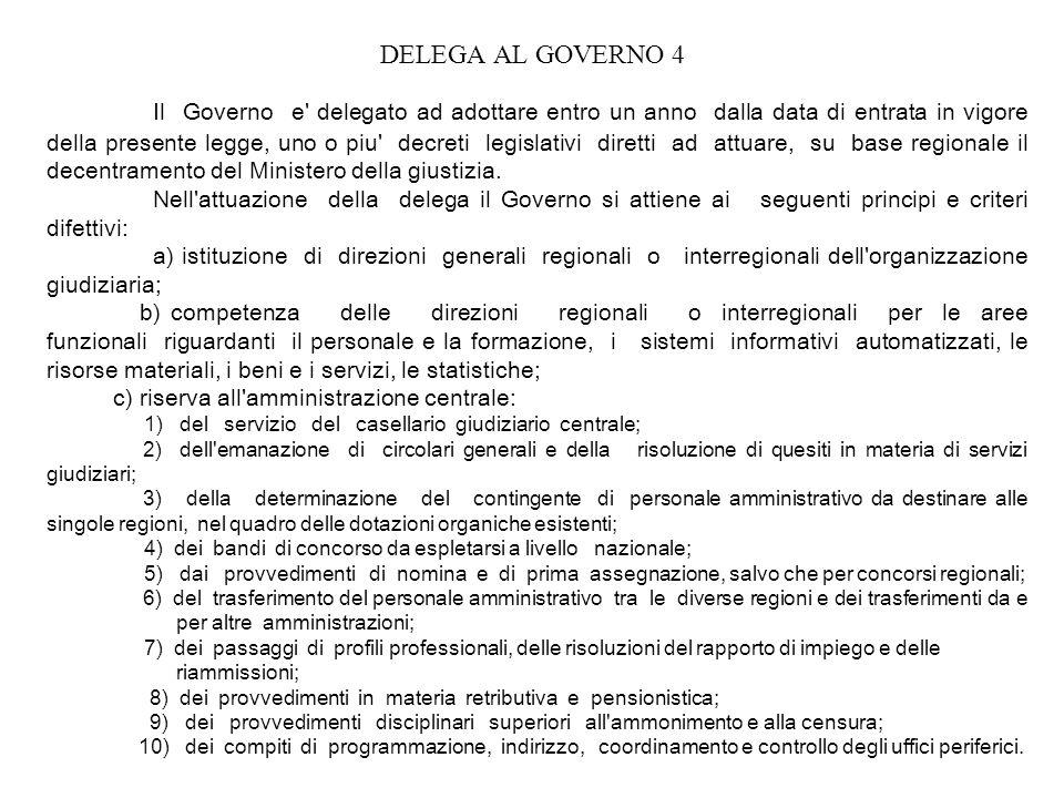 DELEGA AL GOVERNO 4 Il Governo e' delegato ad adottare entro un anno dalla data di entrata in vigore della presente legge, uno o piu' decreti legislat