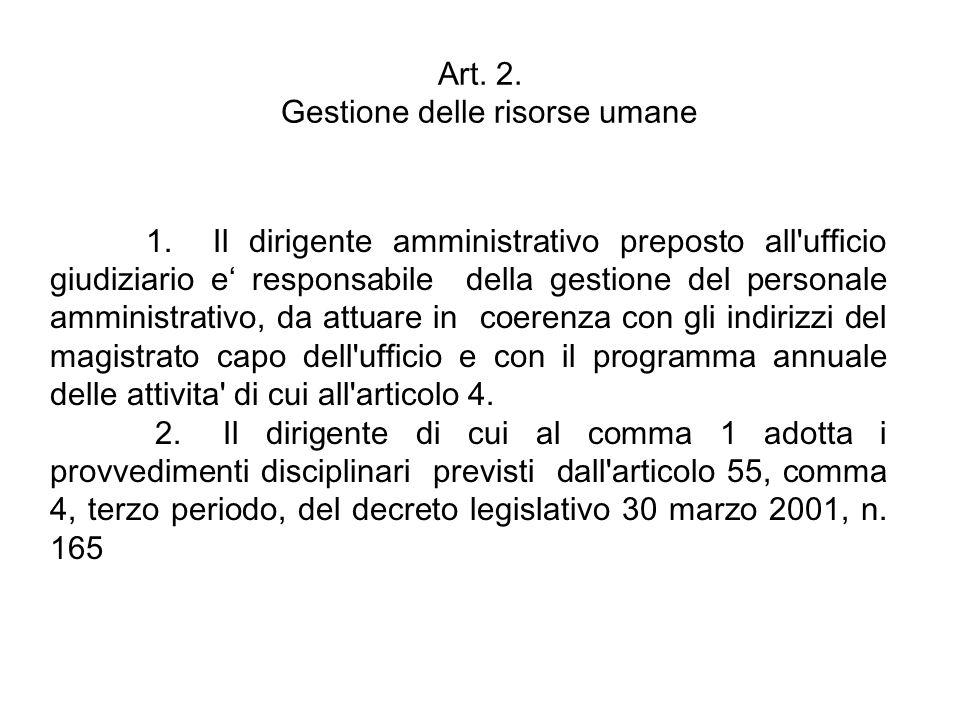 Art. 2. Gestione delle risorse umane 1. Il dirigente amministrativo preposto all'ufficio giudiziario e responsabile della gestione del personale ammin