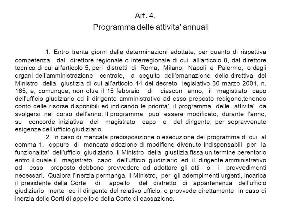 Art. 4. Programma delle attivita' annuali 1. Entro trenta giorni dalle determinazioni adottate, per quanto di rispettiva competenza, dal direttore reg