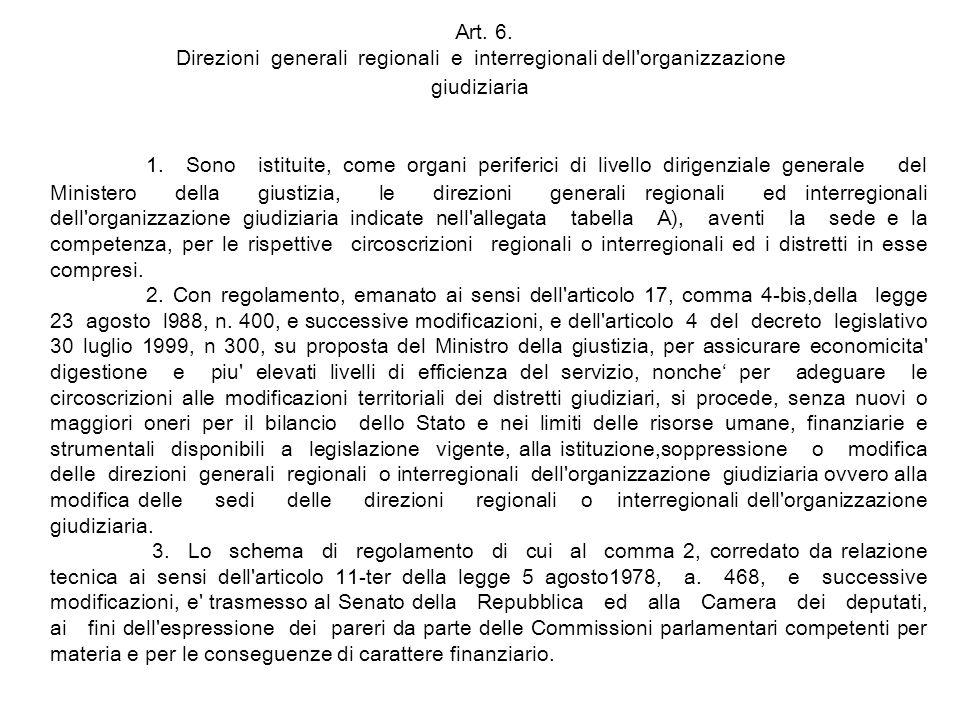 Art.6. Direzioni generali regionali e interregionali dell organizzazione giudiziaria 1.