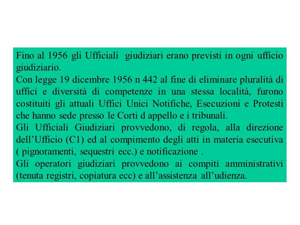 Fino al 1956 gli Ufficiali giudiziari erano previsti in ogni ufficio giudiziario.
