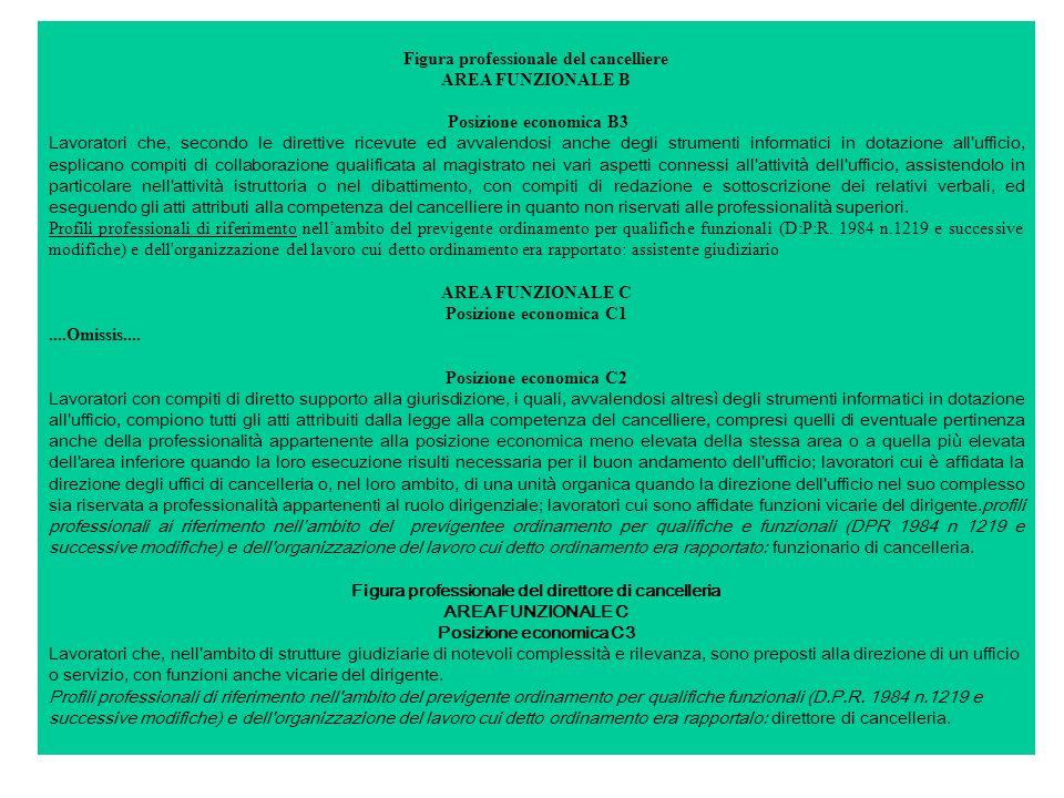 Figura professionale del cancelliere AREA FUNZIONALE B Posizione economica B3 Lavoratori che, secondo le direttive ricevute ed avvalendosi anche degli strumenti informatici in dotazione all ufficio, esplicano compiti di collaborazione qualificata al magistrato nei vari aspetti connessi all attività dell ufficio, assistendolo in particolare nell attività istruttoria o nel dibattimento, con compiti di redazione e sottoscrizione dei relativi verbali, ed eseguendo gli atti attributi alla competenza del cancelliere in quanto non riservati alle professionalità superiori.