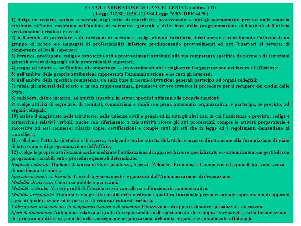 Ex COLLABORATORE DI CANCELLERIA ( qualifica VII) ( Legge 312/80, DPR 1219/84,Legge 76/86, DPR 44/90) 1) dirige un reparto, sezione o servizio degli uffici di cancelleria, provvedendo a tutti gli adempimenti previsti dalla materia attribuita all unita medesima nell ambito di normative generali e delle linee della programmazione dell attività dell ufficio verificandone i risultati e i costi; 2) nell ambito di procedure o di istruzioni di massima, svolge attività istruttorie direttamente o coordinando l attività di un gruppo di lavoro e/o impiegati di professionalità inferiore predisponendo provvedimenti ed atti (riservati al settore) di competenza di livelli superiori; 3) istruisce, predispone, redige e sottoscrive atti e provvedimenti attribuiti alla sua competenza specifica da norme o da istruzioni generali ovvero delegatigli dalle professionalità superiori; 4) esegue ed adotta nell ambito di competenza provvedimenti atti a migliorare l organizzazione del lavoro e l efficienza; 5) nell ambito delle proprie attribuzioni rappresenta l Amministrazione e ne cura gli interessi; 6) nell ambito della specifica competenza e/o sulla base di norme o istruzioni generali partecipa ad organi collegiali; 7) tutela gli interessi dell erario e, in sua rappresentanza, promuove ovvero istruisce le procedure per il recupero dei crediti dello Stato; 8) collabora, dietro incarico, ad attività ispettiva in settori specifici attinenti alle proprie funzioni; 9) svolge attività di segretario di comitati, commissioni e simili con piena autonomia organizzativa, e partecipa, se previsto, ad organi collegiali; 10) assiste il magistrato nelle istruttorie, nelle udienze civili e penali ed in tutti gli altri casi in cui l assistenza è prevista; redige e sottoscrive i relativi verbali; anche con riferimento a tale attività riceve gli atti processuali, compie le attività preparatorie e successive ad essi connesse; rilascia copie, certificazioni e compie tutti gli atti che la legge ed i regolamenti d