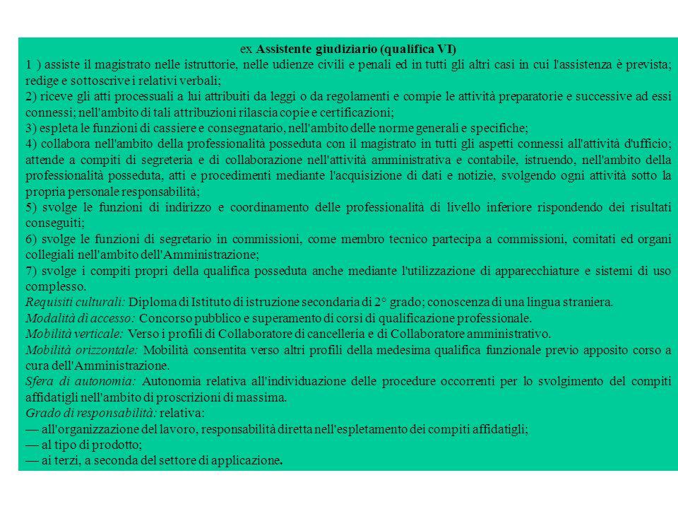 ex Assistente giudiziario (qualifica VI) 1 ) assiste il magistrato nelle istruttorie, nelle udienze civili e penali ed in tutti gli altri casi in cui